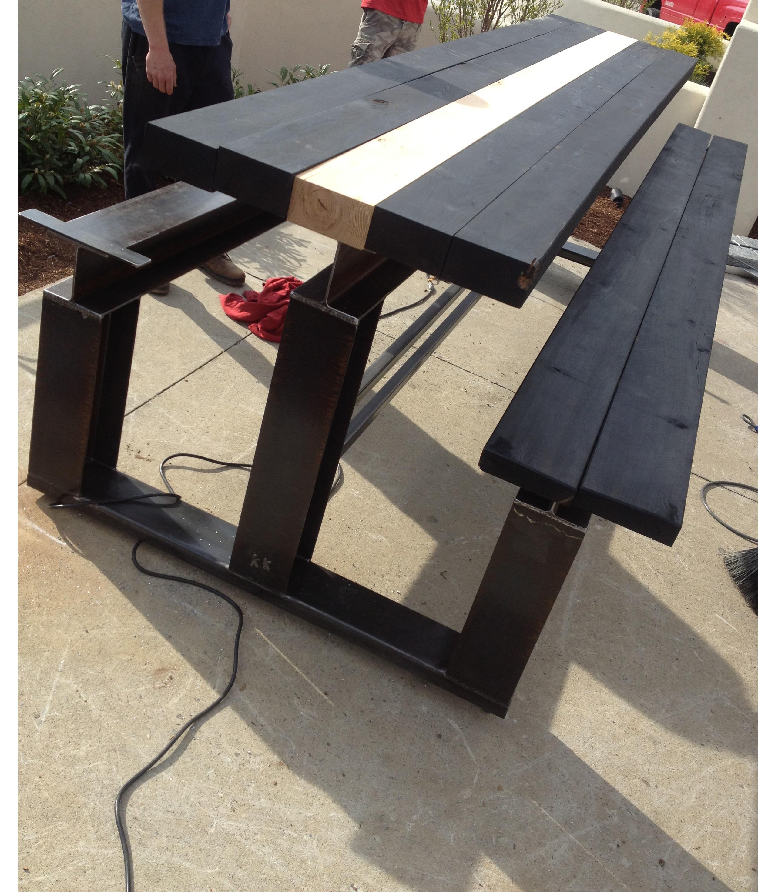 I beam community table