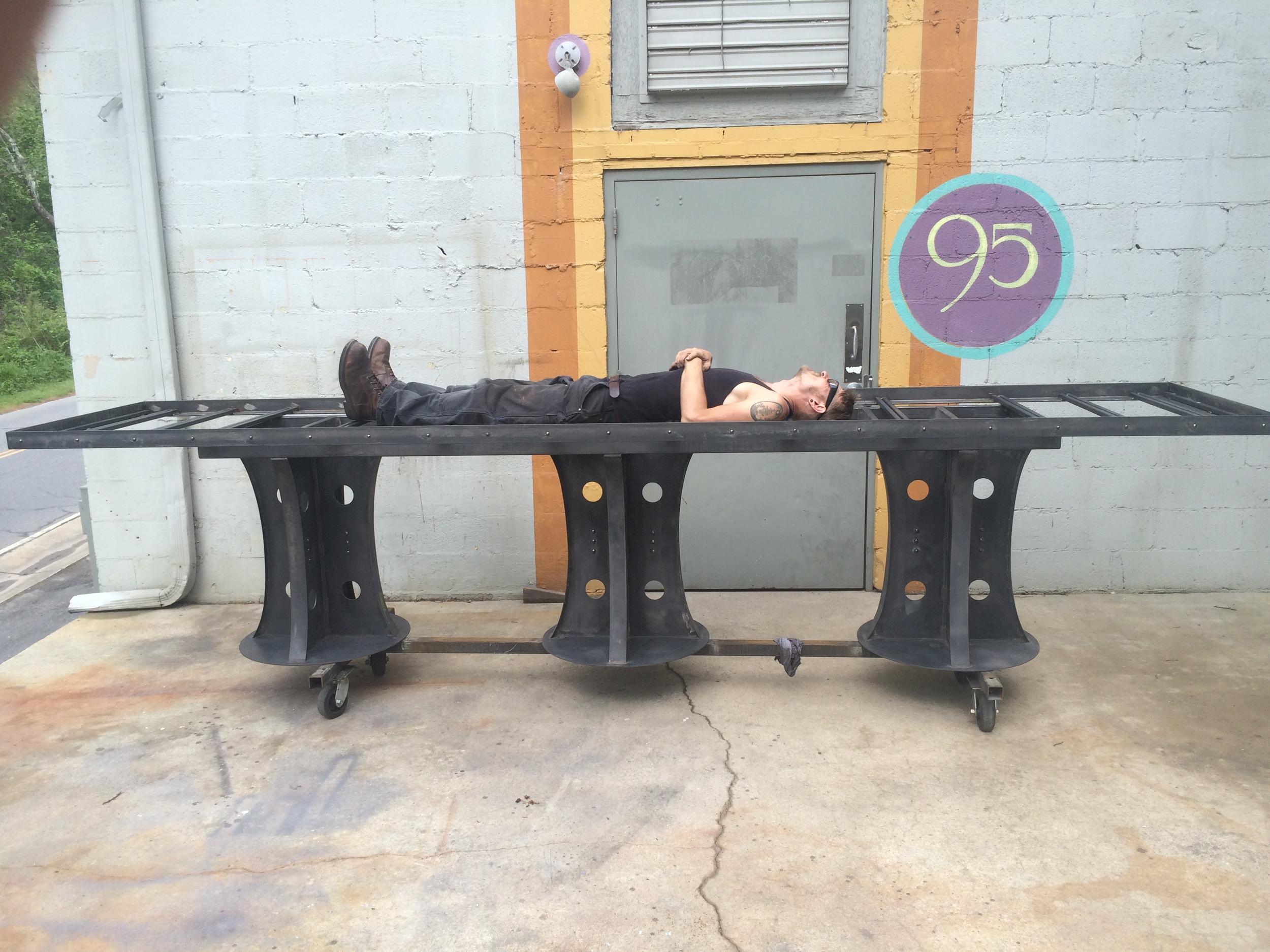 Big modern steel table