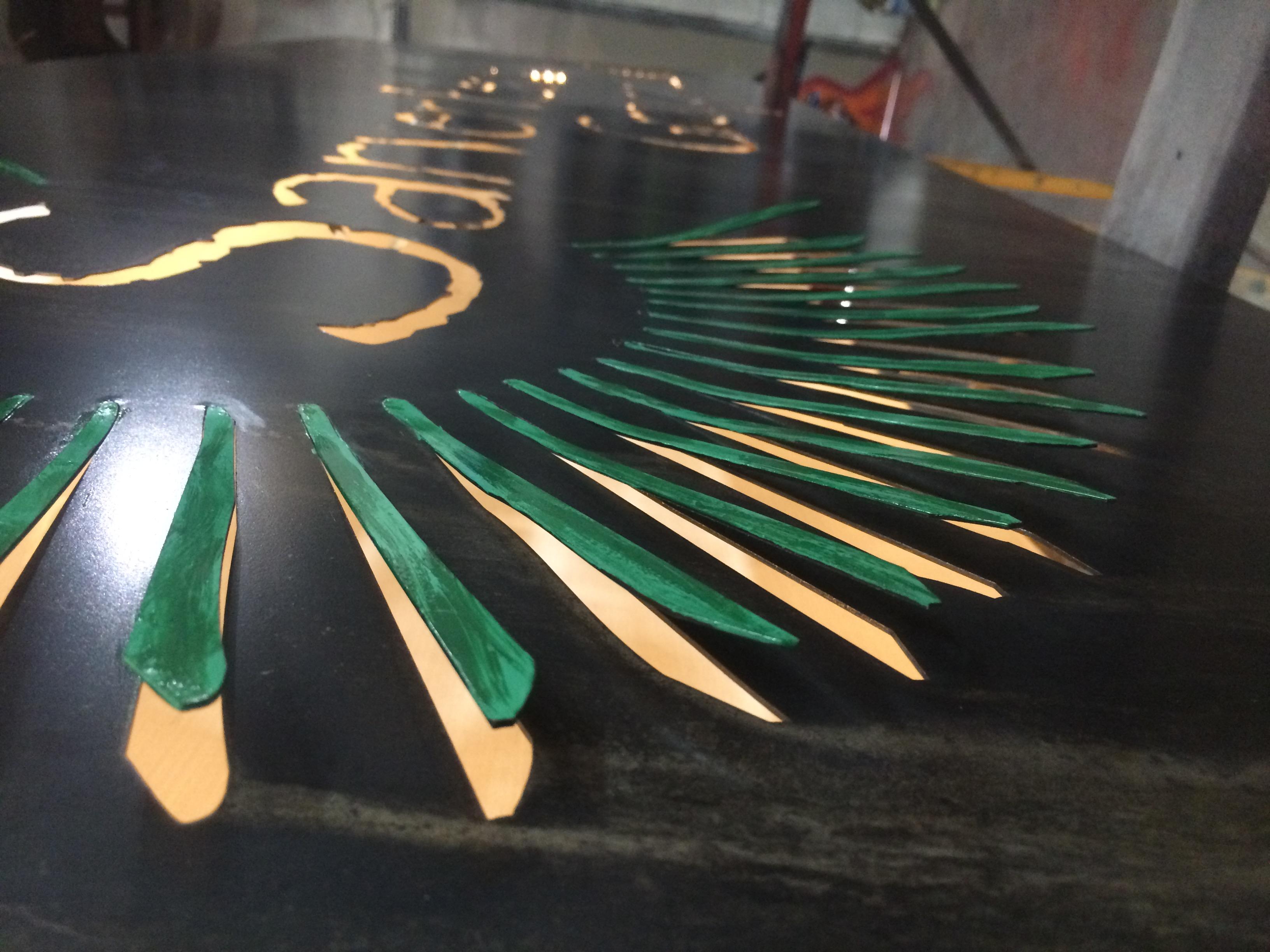 Custom steel backlit sign detail