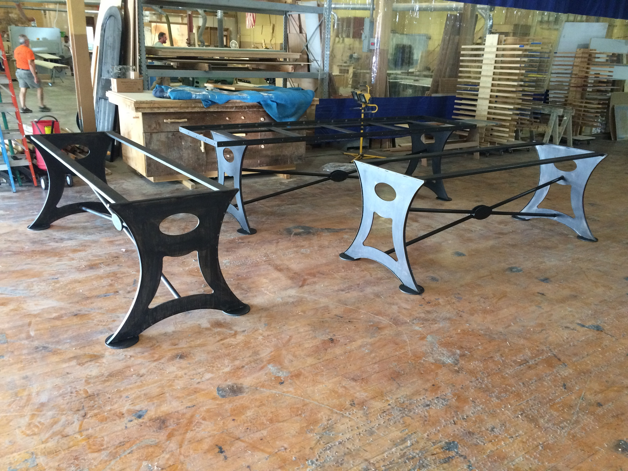 Steel community table frames