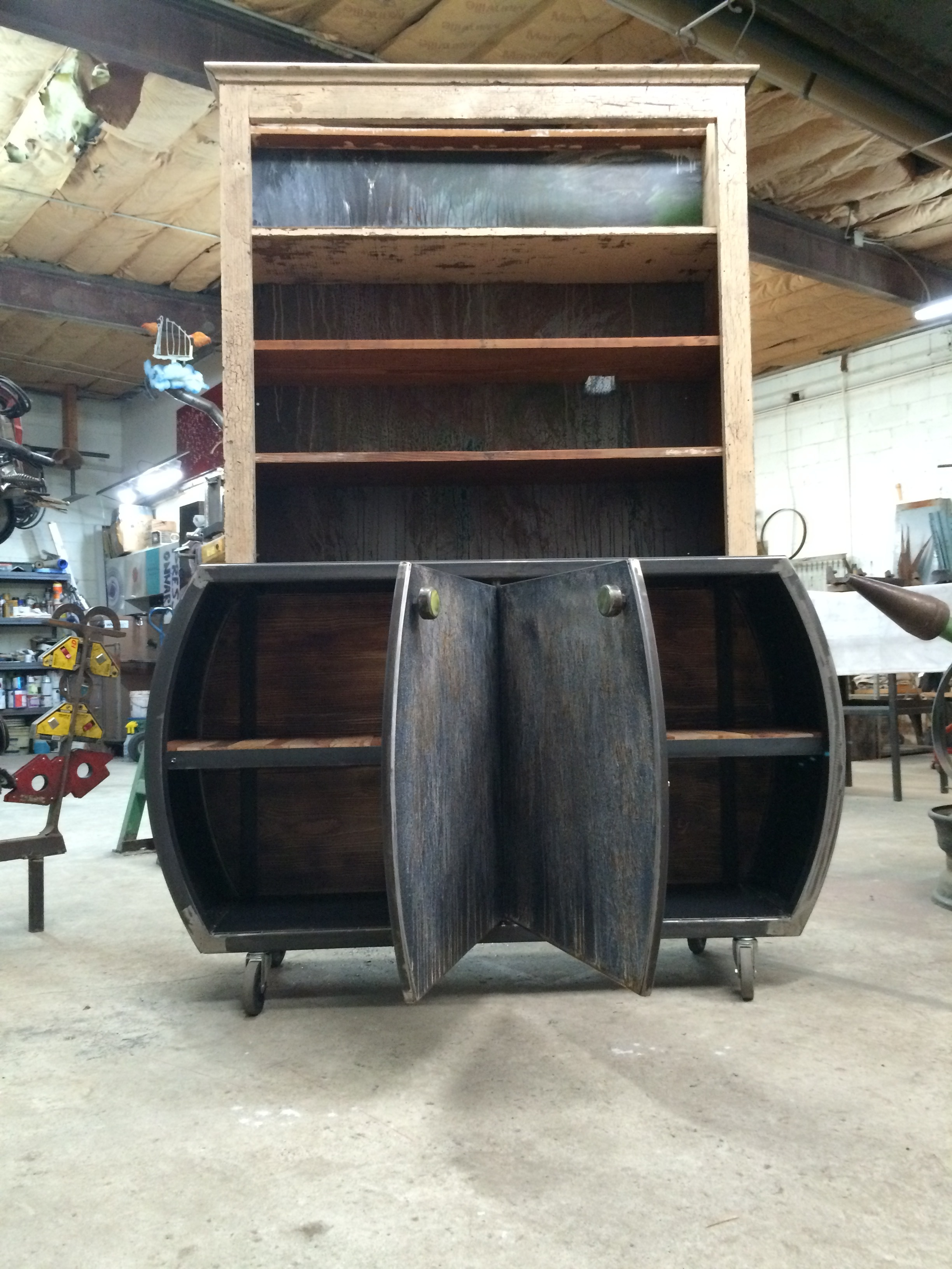 Wood and steel cabinet