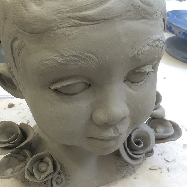 "Clay work, during the making of sculpture in previous post. ""Head of Boy in Garden"" . Lakeside Faculty Show 2019. . . . #ceramic #keramik #ceramicsculpture #art #contemporaryceramics #glaze #child #figure #artist #artworks #artistsoninstagram #artexhibition #artgallery #jacobforan"
