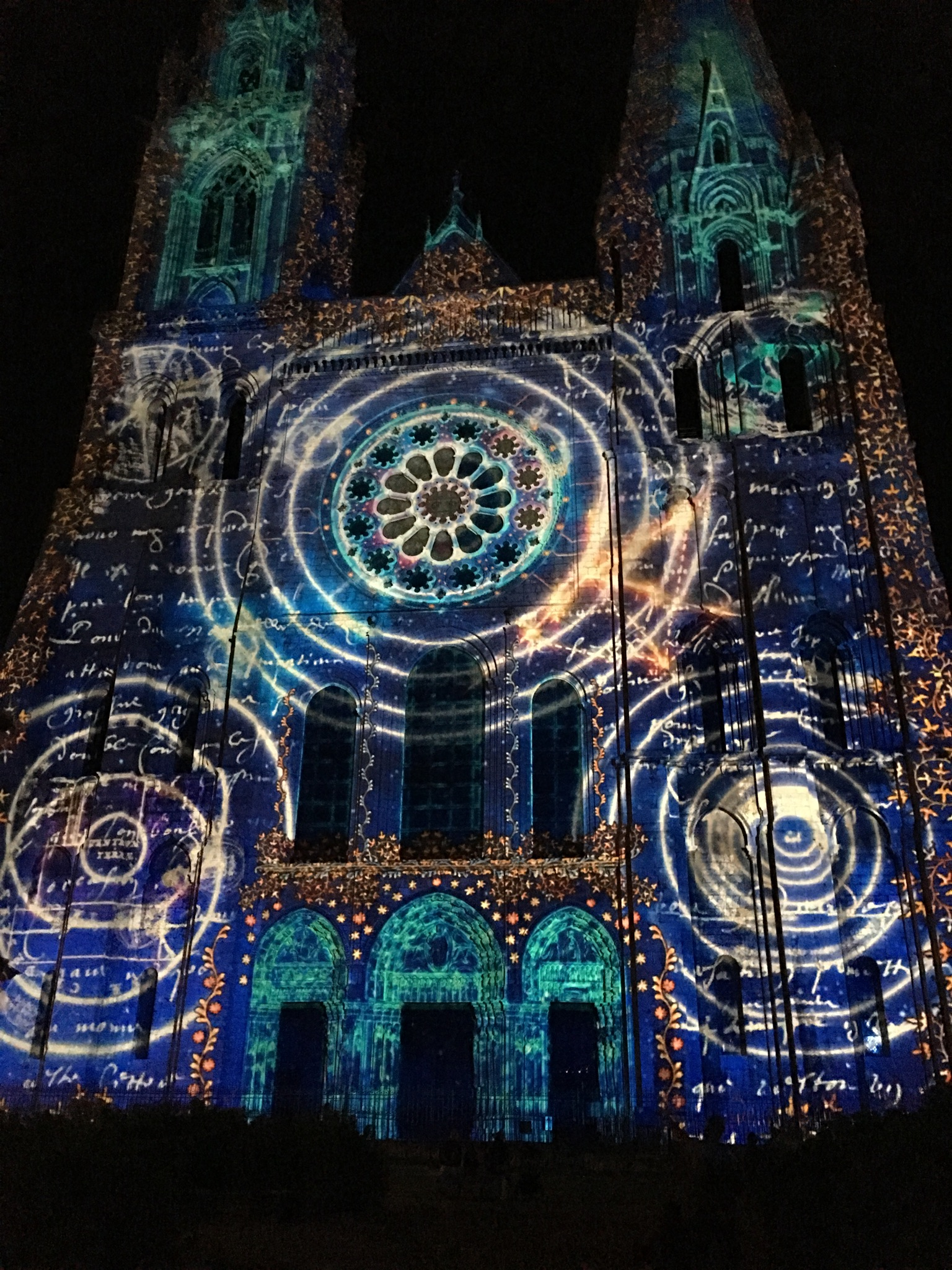 Illuminations on the front of Chartres Cathedral