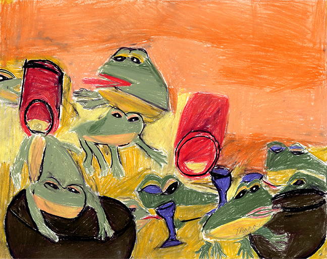 """Frogs, Frogs Everywhere , 2004 Soft pastel on paper, Framed 14        0   0   1   2   Mara Clawson   1   1   2   14.0                       Normal   0           false   false   false     EN-US   JA   X-NONE                                                                                                                                                                                                                                                                                                                                                                               /* Style Definitions */ table.MsoNormalTable {mso-style-name:""""Table Normal""""; mso-tstyle-rowband-size:0; mso-tstyle-colband-size:0; mso-style-noshow:yes; mso-style-priority:99; mso-style-parent:""""""""; mso-padding-alt:0in 5.4pt 0in 5.4pt; mso-para-margin:0in; mso-para-margin-bottom:.0001pt; mso-pagination:widow-orphan; font-size:12.0pt; font-family:Cambria; mso-ascii-font-family:Cambria; mso-ascii-theme-font:minor-latin; mso-hansi-font-family:Cambria; mso-hansi-theme-font:minor-latin;}      ¼x 18 in."""