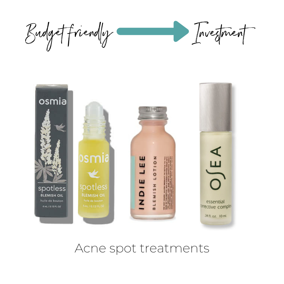 Not listed on ThinkDirty     Osmia Spotless Blemish Oil $22      Indie Lee Blemish Lotion $22     Osea Essential Corrective Complex $32   (what I personally use)