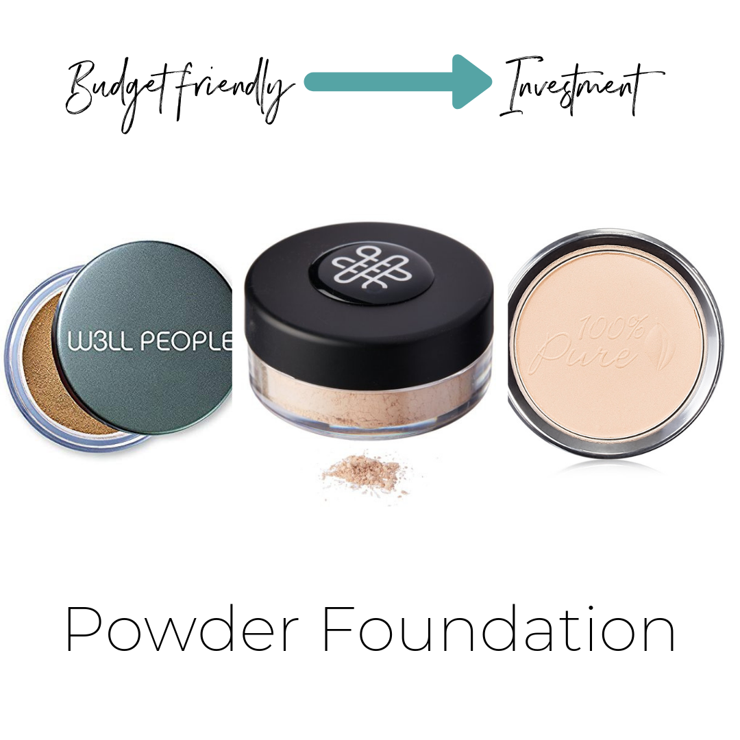 W3ll People Altruist Mineral Foundation $24    ThinkDirty 1     Omiana Subtle Powder Foundation $29     (contains no mica)  Not listed on ThinkDirty     Fruit Pigmented® Powder Foundation $45     (contains no mica)  ThinkDirty 0