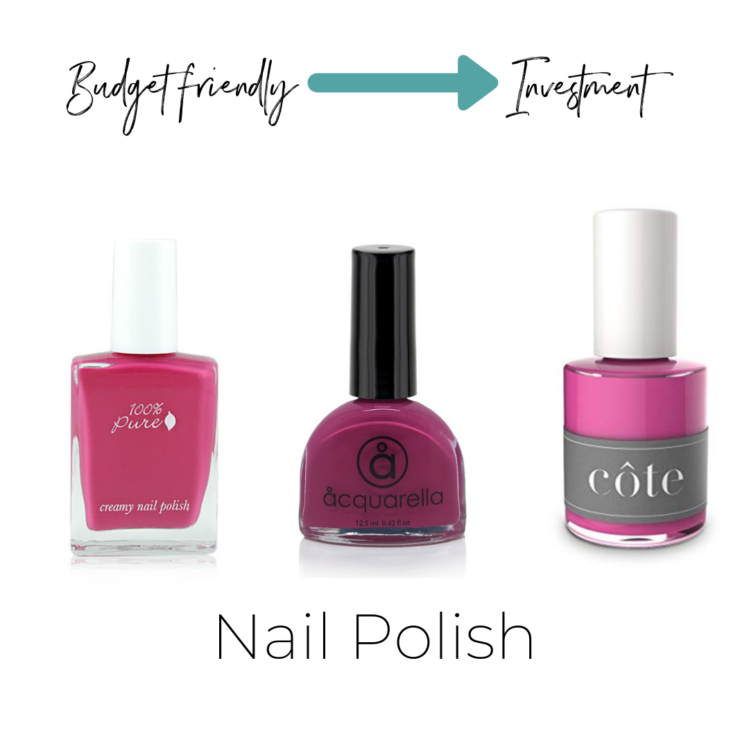 100% Pure Creamy Polish: Juice $14    Not listed on ThinkDirty     Acquarella $16    ThinkDirty 3     Cote NO.36 $18    Not listed on ThinkDirty
