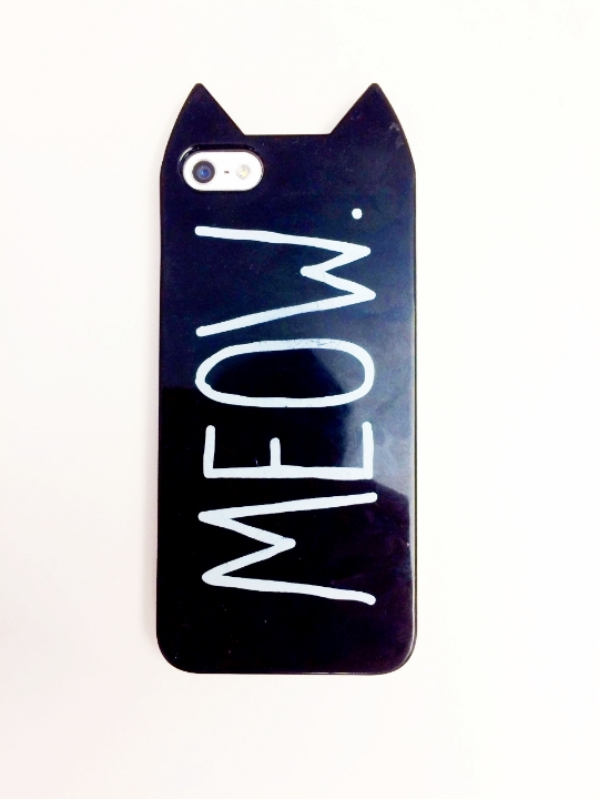 """This is my cat phone. I purchased the cover from H&M because I thought it was a Batman one. Somehow I missed the million point all-caps font on the back.  When I told my man friend this story, he was tickled and now refers to my phone as""""Meowchael Keaton."""" I'm secretly jealous I didn't think of this first."""