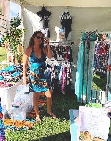 Love The Beach Beauty, Melissa, is ROCKIN' an original Lu Dress at the Made In Maui Festival!