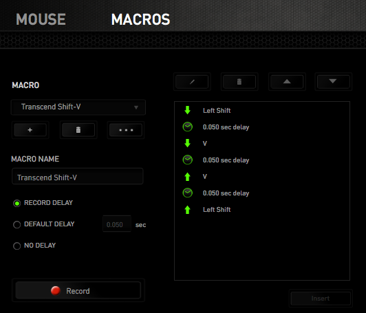 Razer Synapse Macros interface on Mac OS