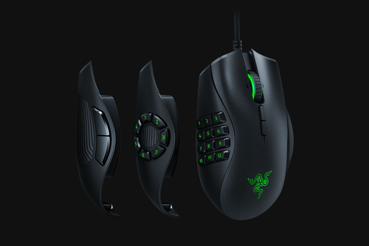 The 3 side panels of the Naga Trinity / Source: Razer