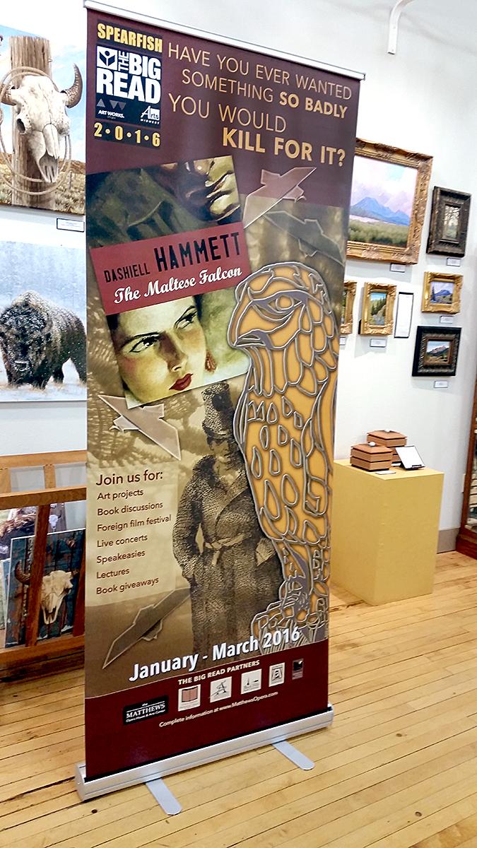 Banner in art gallery