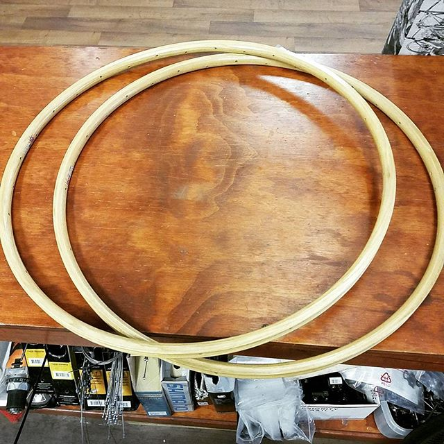 Wooden tubular rims, 384 grams each. Wood make one beautiful custom built wheelset. #bikes #woodenbike #ebay #cycling