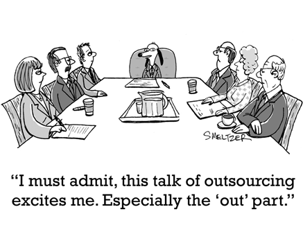 dog outsourcing board room cartoon