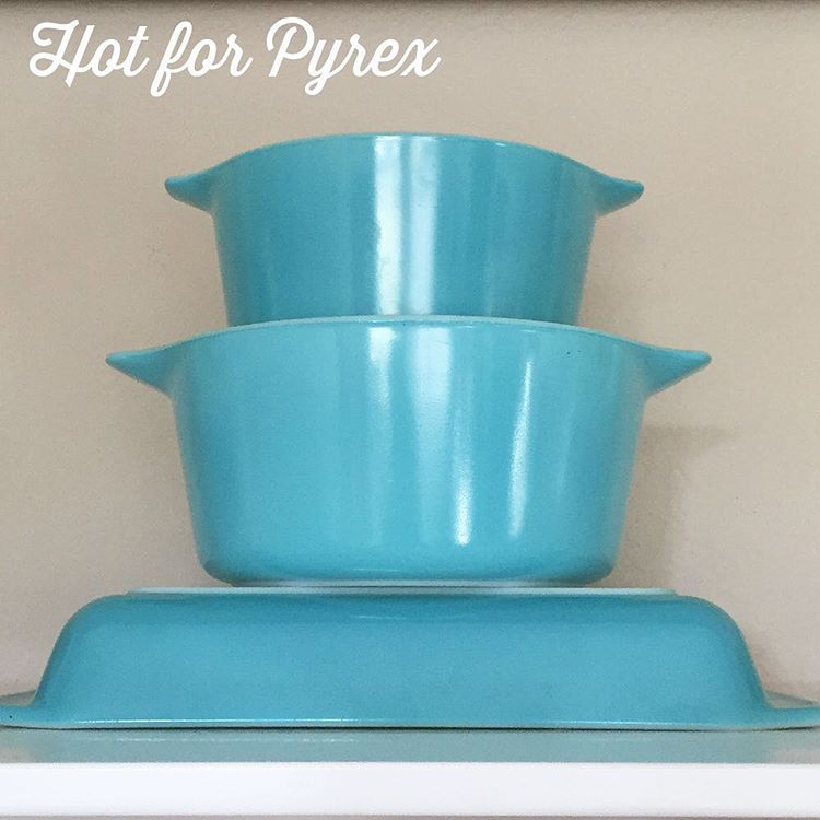 Day 96 of 100 - A few of my hard to find/rare turquoise Pyrex (548, 473, 474).  #hotforpyrex #pyrexporn #pyrex100 #100hfp #htfpyrex #love #pyrexporn #pyrexpassion #pyrexlove
