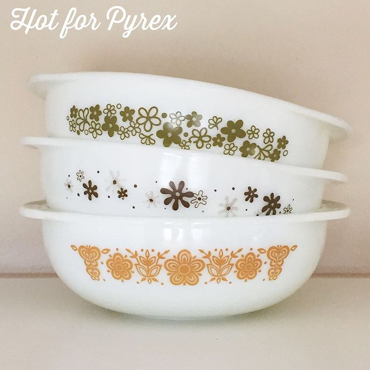 """Day 86 of 100 - Stack of 024 2 quart round casseroles.  The Spring Blossom and Butterfly Gold casseroles are harder to find.  The """"amoeba"""" brown patterned casserole is a rare, unknown pattern.  It reminds me of ink spots. #love #hotforpyrex #htfpyrex #pyrexlove #pyrexporn #100hfp #pyrex100 #pyrex #pyrexpassion"""