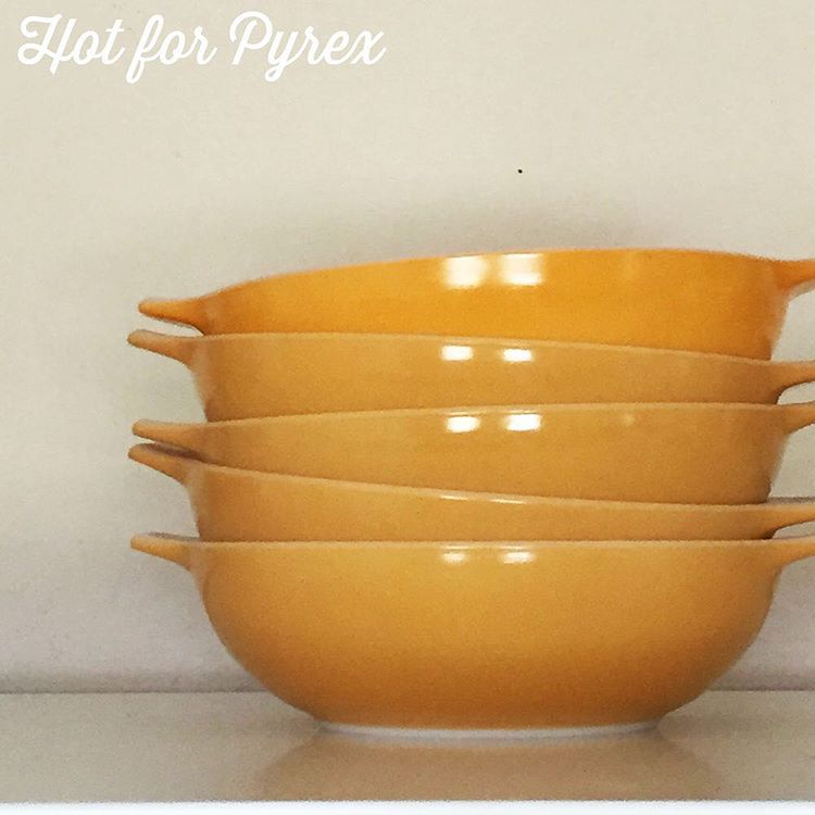Day 83 of 100 - Another picture in the unusual family flair Pyrex series.  Pictured here are two different shades of yellow that differ from the standard yellow hue.  The top dish is a bright orange/yellow hue that is found on dishes in the three-piece server set.  #100hfp #hotforpyrex #pyrexlove #pyrexia #love #pyrex100 #pyrexia #pyrexaddict #pyrexporn #pyrexpassion