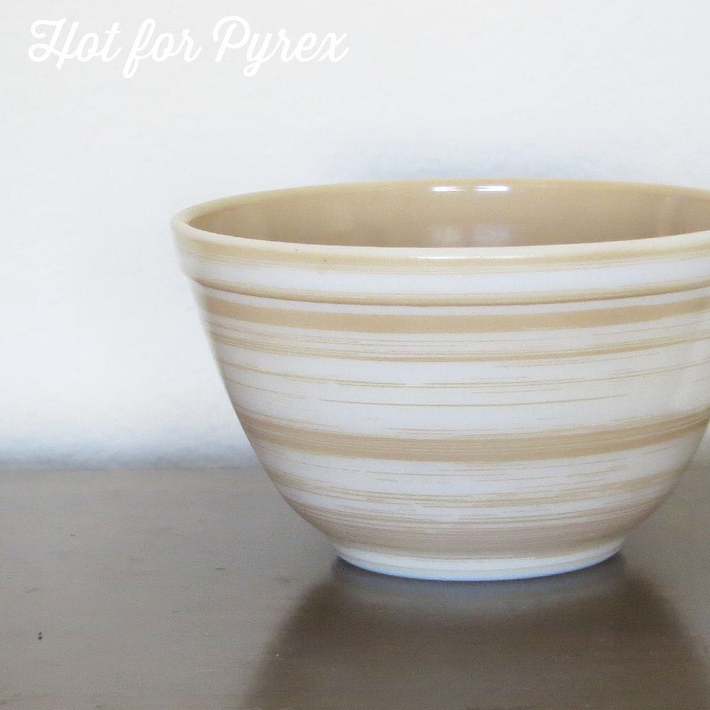 Day 66 of 100 - This is the sister bowl to the mystery brown and white stripe bowl I shared a picture of earlier in the 100 days series.  What is really odd about this bowl is that the inside has been colored brown.  #100hfp #pyrex100 #htfpyrex #pyrexpassion #love #pyrexlove #pyrexproblems #rarepyrex #pyrexporn #hotforpyrex #pyrexXfiles