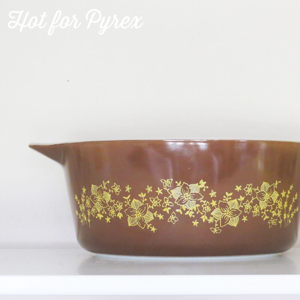 Day 62 of 100 - One of my favorite and most unusual pieces.  I love the delicate yellow flowers on the chocolate brown background.  This was produced post-microwave.  #100hfp #pyrexaddict #pyrexporn #hotforpyrex #hotforpyrex #rarepyrex #pyrexproblems #pyrexlove #love #pyrexpassion