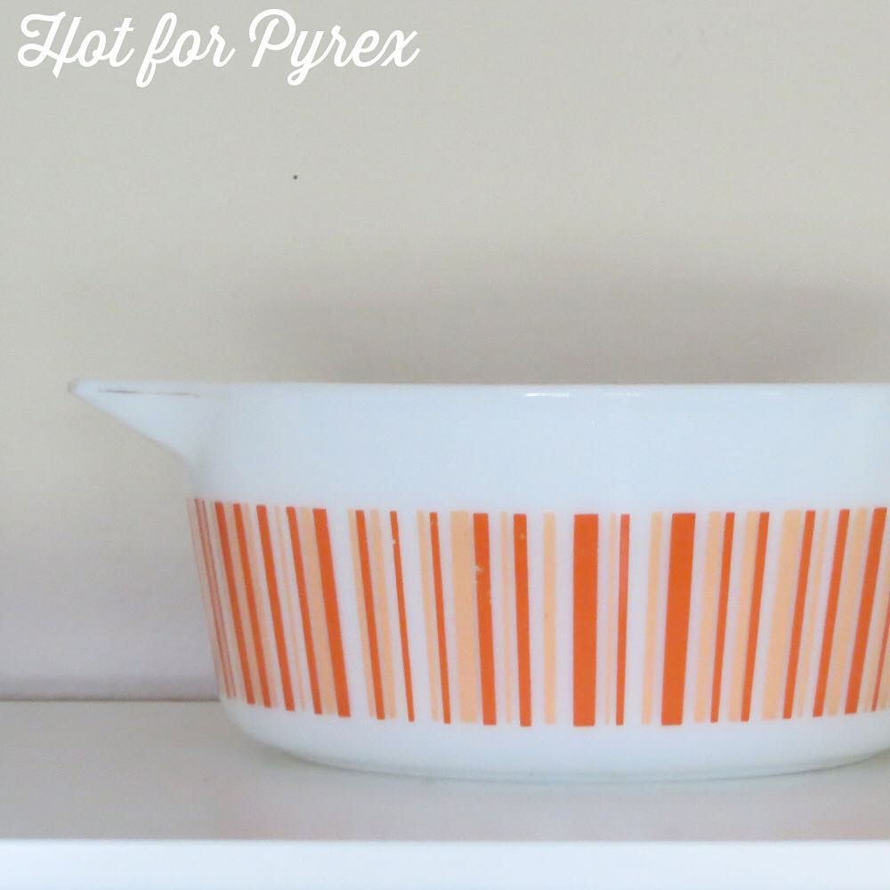 Day 60 of 100 - Orange stripes to go with the blue and green stripe bowl from yesterday.  The orange stripes are in two different shades on an opal base.  #100hfp #pyrexaddict #pyrexporn #hotforpyrex #rarepyrex #pyrexproblems #pyrexlove #love #pyrexpassion #stripes