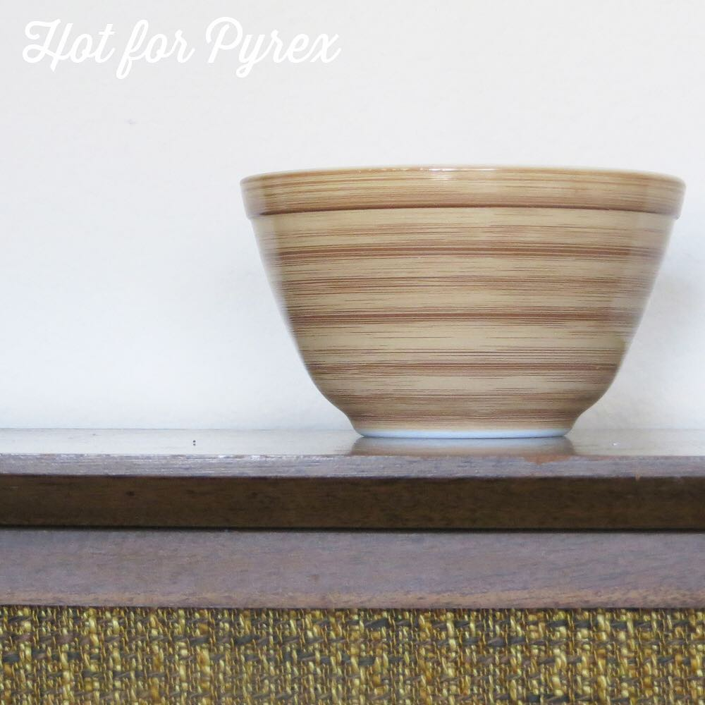 Day 53 of 100 - This piece has always been a mystery to me.  The paint on the outside of the bowl is textured and the pattern is reminiscent of the terra pattern.  Was it an experiment?  Accident?  To be continued … #100hfp #hotforpyrex #rarepyrex #love #pyrexlove #pyrexpassion #htfpyrex #pyrexaddict #pyrexproblems #pyrexporn
