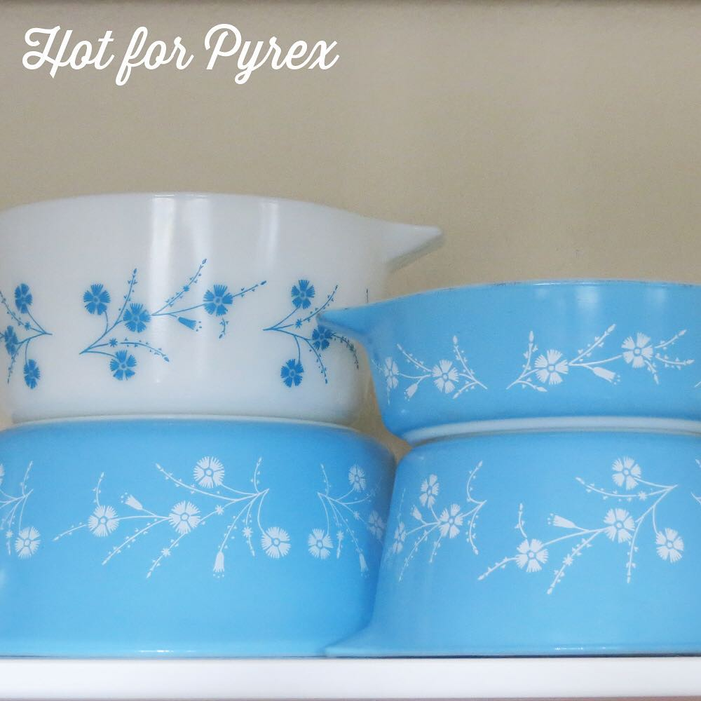 Day 44 of 100 - Dianthus continued.  471, 473, 474, 475.  I just need the 472 😍.  #pyrex100 #100hfp #hotforpyrex #pyrexaddict #vintagepyrex #pyrexlove #pyrexpassion #vintageglass #rarepyrex #love