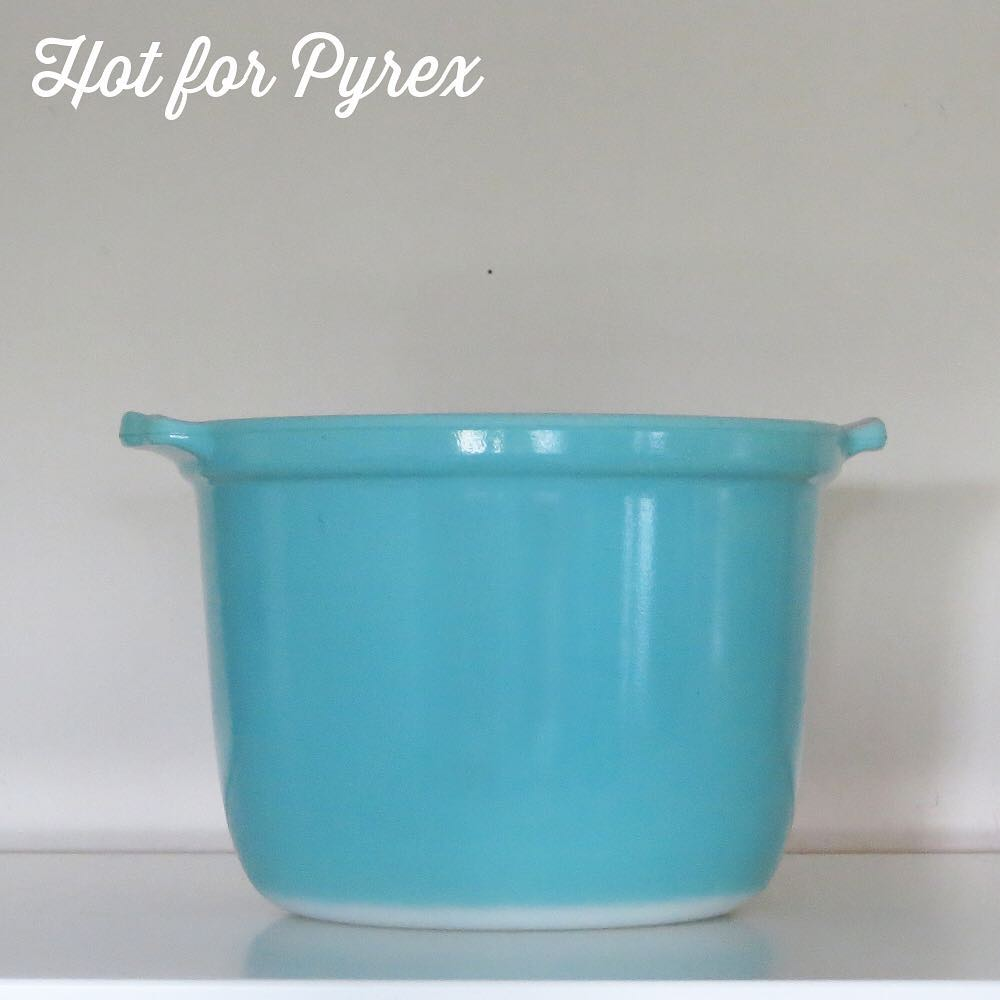 Day 41 of 100 - The bean pot!  This is one my most treasured pieces of all time.  It is the bean pot shape created in opal glass with turquoise paint.  Pictures don't do it justice - trust me, it's a beauty.  #100hfp #hotforpyrex #pyrexaddict #vintagepyrex #pyrexlove #pyrexpassion #vintageglass #rarepyrex #love