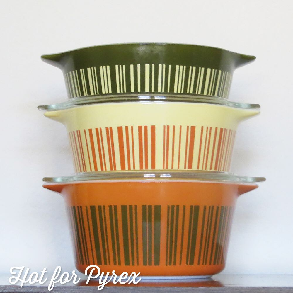 Day 17 of 100 - Continuing the barcode theme with a complete 470 set.  I love that the color theme is carried throughout the set (green, yellow, and orange).  #100hfp #hotforpyrex #rarepyrex #htfpyrex #pyrexaddict #vintagepyrex #love #cmog #pyrexlove