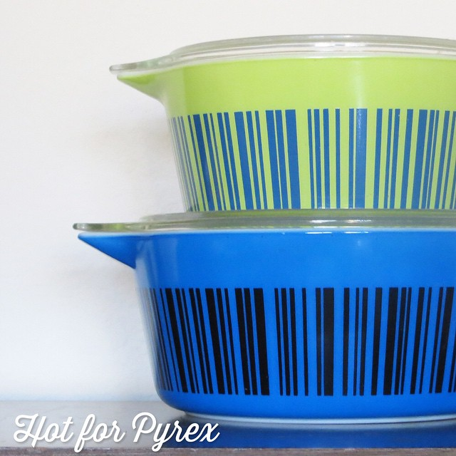 Day 16 of 100 - I love me some barcodes!  These two dishes were found on eBay at different times, but as you can see from the colors, are part of the same set.  #100hfp #hotforpyrex #htfpyrex #rarepyrex #pyrexaddict #vintagepyrex #love #cmog #pyrexlove