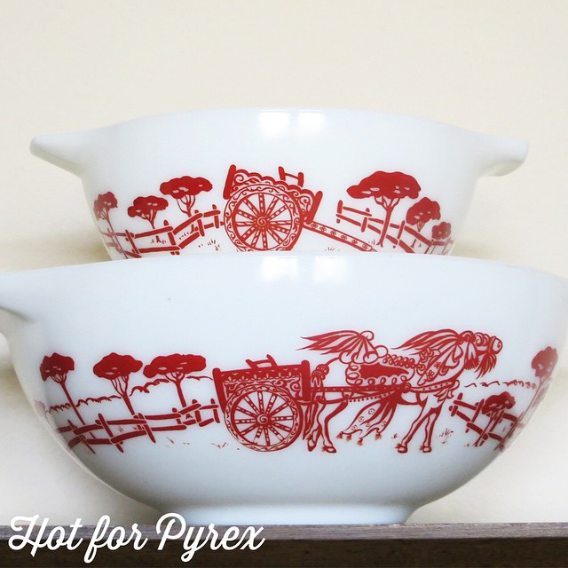 "Day 5 of 100 - ""Gypsy Caravan"" 442 and 444.  The detail of this pattern is stunning and each bowl has a different, but complimentary, scene on it.  My favorite detail is the horse. #100hfp #hotforpyrex #htfpyrex #cmog #pyexlove #vintagepyrex #pyrexaddict #vintageglass"