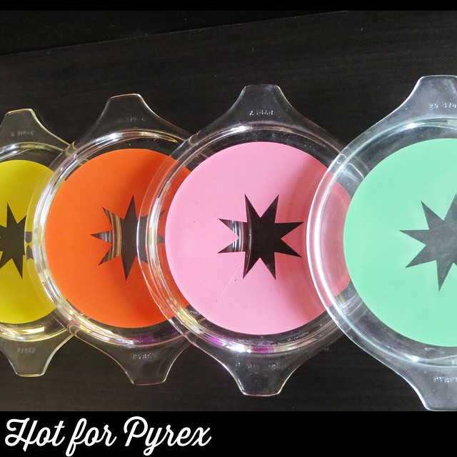 Day 4 of 100 - star lids in yellow, orange, pink and green.  While there is no documentation to support it, these lids pair perfectly with the black and white star 473 dish #pyexlove #100hfp #hotforpyrex #htfpyrex #cmog #colorwheel