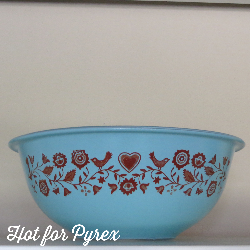 If you read my blog or visit my site, then you know I have a thing for non-rare patterns in unusual colors and shapes (a.k.a. Pyrex with a Twist). This piece caught my eye on eBay because the bird pattern is usually found on smokey brown clear glass Pyrex bowls. The contrast of the brown birds on a bright blue background really makes the pattern pop and makes me look twice at a pattern that felt really … brown. To whomever dreamed up this color combo - Thank You!
