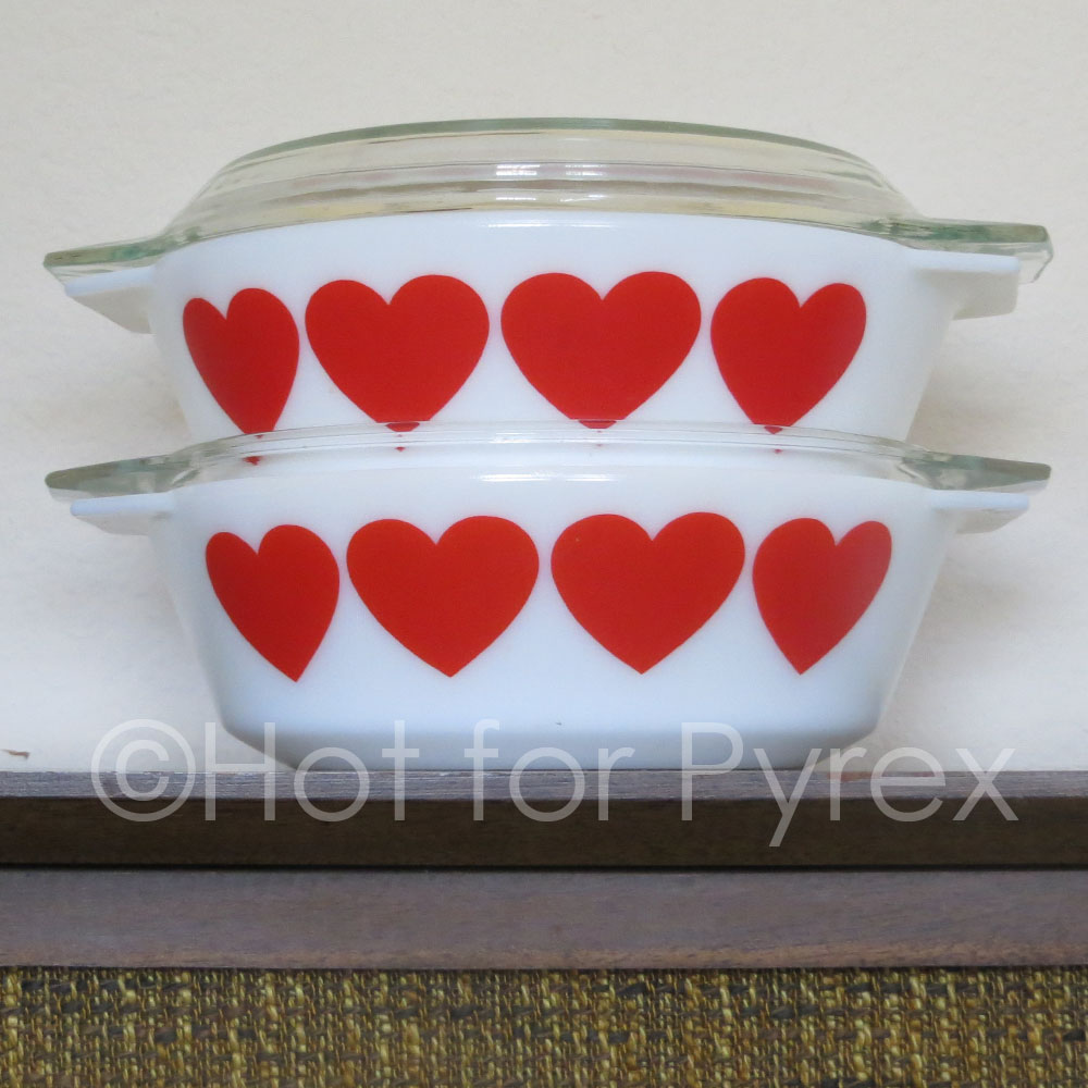 "Once upon a time, I saw a picture of a red heart dish online.  No information, no price, no name - just a picture.  With nothing to go on, I patiently waited for one to pop up, browsing Ebay and Facebook and beginning to doubt the dish existed.  Then, one evening, when I was checking Instagram, not one but four of these casseroles were for sale in Denmark!  Needless to say, I am thrilled to add these to my collection.    I don't have much information to share about these dishes, but I can tell you that they are marked ""JAJ"" on the bottom and are approximately 10 inches wide."