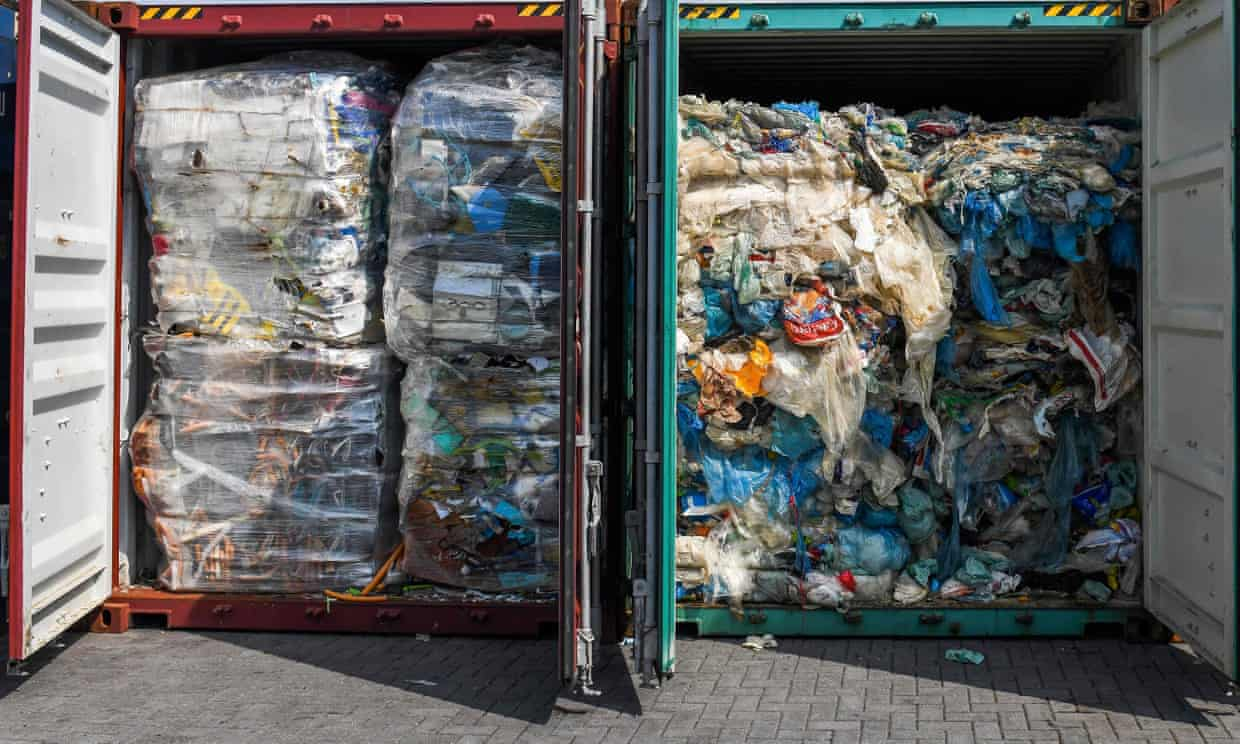 Plastic waste ready for inspection before being sent to Malaysia; the UK produces more refuse than it can process at home – about 1.1kg per person per day. Photograph: AFP/Getty Images.