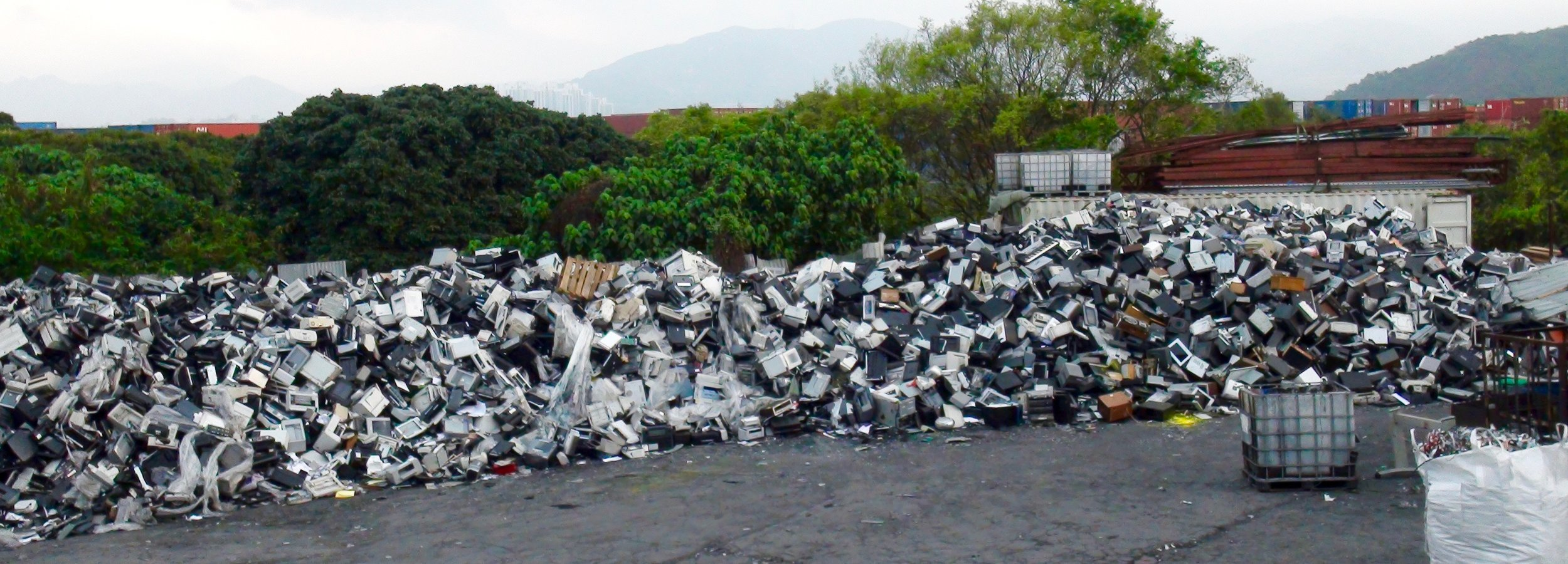 """American e-waste exported by so-called """"electronics recyclers"""" dumped in hidden Hong Kong e-waste junkyard discovered by BAN GPS trackers. This trade is criminal traffic and will be illegal under the Ban Amendment which has been ratified by China. Copyright BAN, March 2016."""