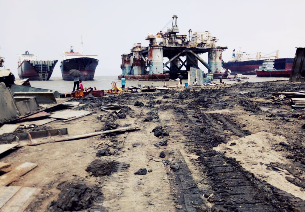 An image of the VIRGIN STAR (first ship from the left) after its arrival in Chattogram - © NGO Shipbreaking Platform