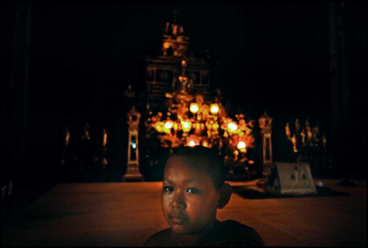 A boy in temple. Bangkok, Thailand.