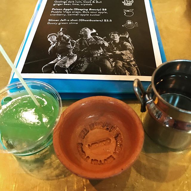 Slimer Jell-O shot and a side of mezcal. Thanks @cantinalena for the great preshow drinks! #ghostbusters #cinerama #jelloshots #slimer #mezcal