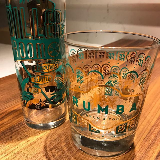New @rumbaseattle glasses are a perfect match to the Diller glasses. Thanks @jen_akin for the great drinks and hooking me up with the new barware!! #rumbaseattle #barware #rum #rhum #diller