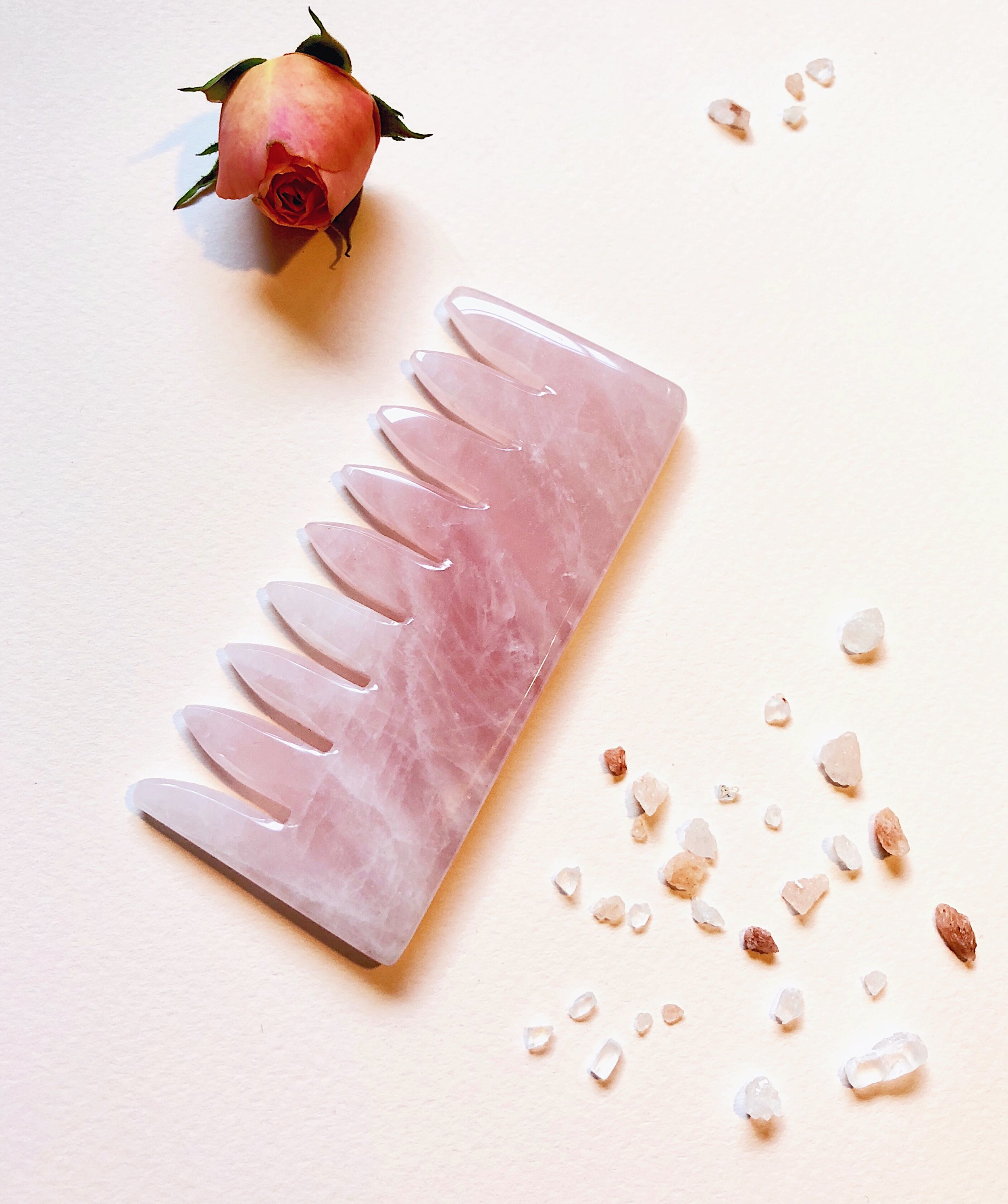Pictured: Crown Works Crystal Comb in Rose Quartz
