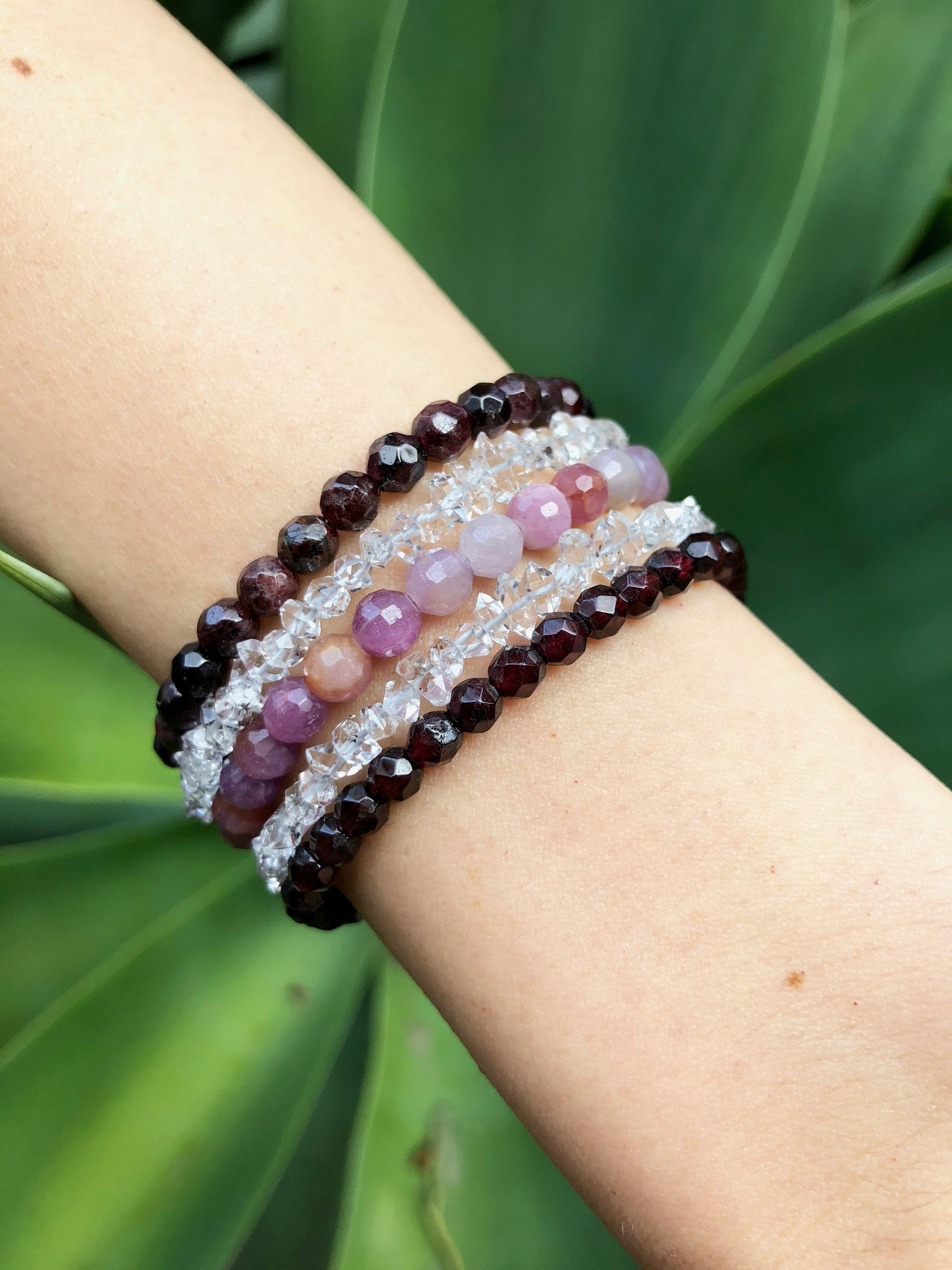 Pictured: Wax & Wane Bracelets; Garnet, Herkimer Diamond and Ruby