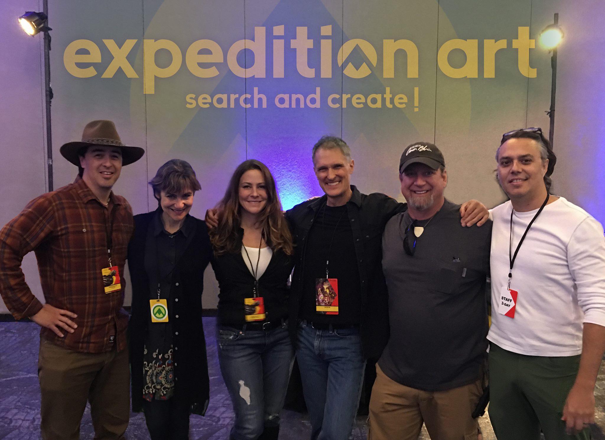Retirada da página do Facebook do Expedition Art. Da esquerda para a direita, Manuel Carrasco, Terryl Whitlatch, Kristy Tipton, Iain McCaig, Aaron Blaise e David Levy