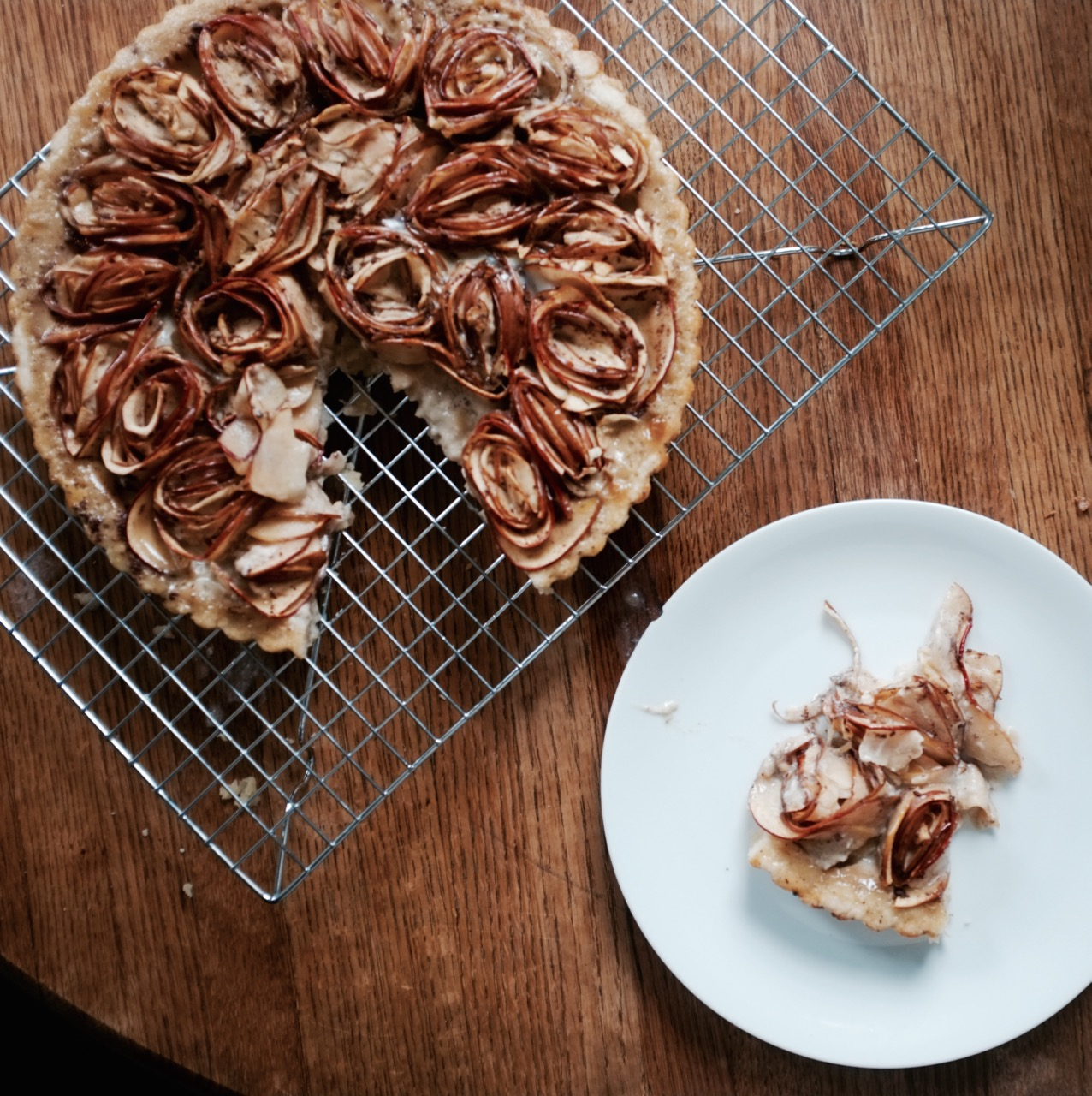 Almond Apple Custard Tart with Apple Roses - Hill Reeves