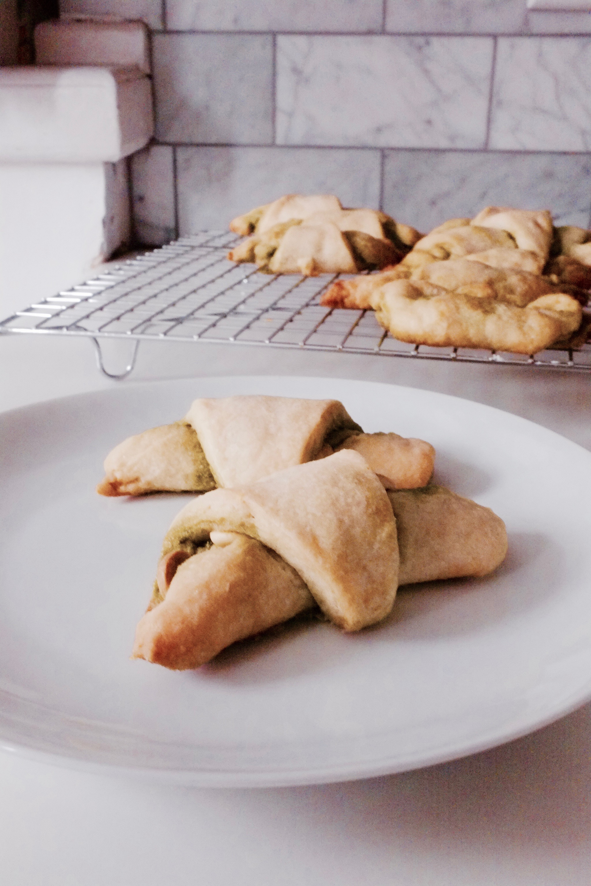 White Chocolate Matcha Rugelach - Hill Reeves