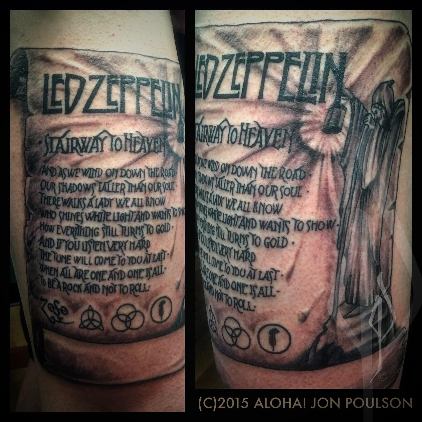 Led Zeppelin tattoo by Jon Poulson