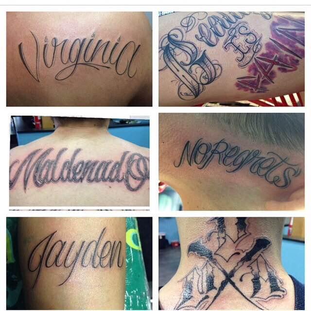 Script and Various Lettering Tattoos by Luke Jensen - Aloha Salt Lake Tattoos