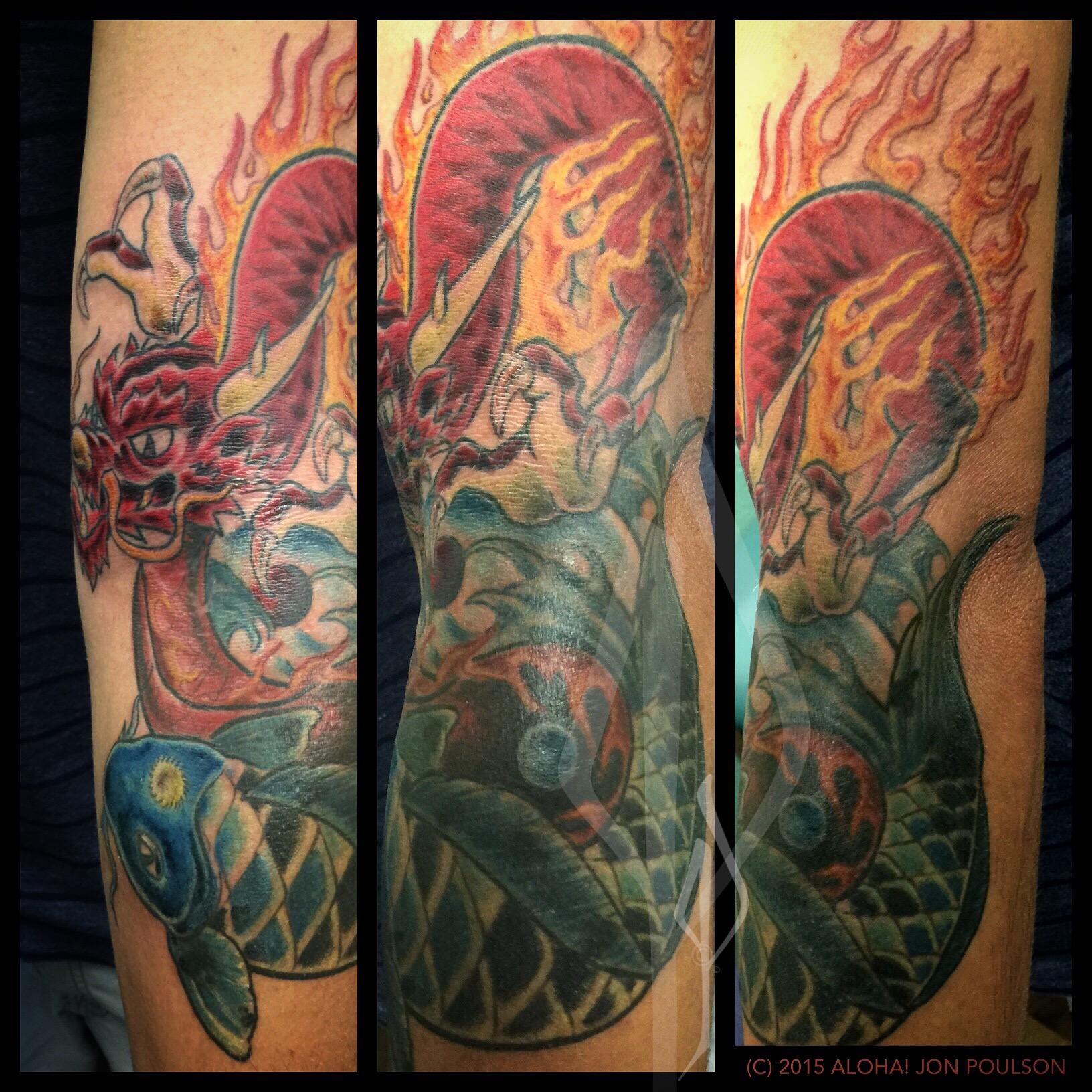 Asain Dragon and Koi Yin-Yang tattoo by Jon Poulson @alohasaltlake www.alohasaltlake.com