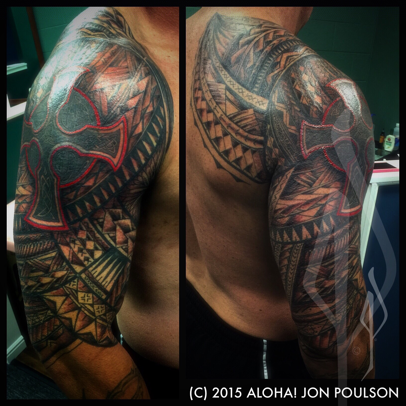 Freehand Polynesian Cover-up Tattoo by Jon Poulson