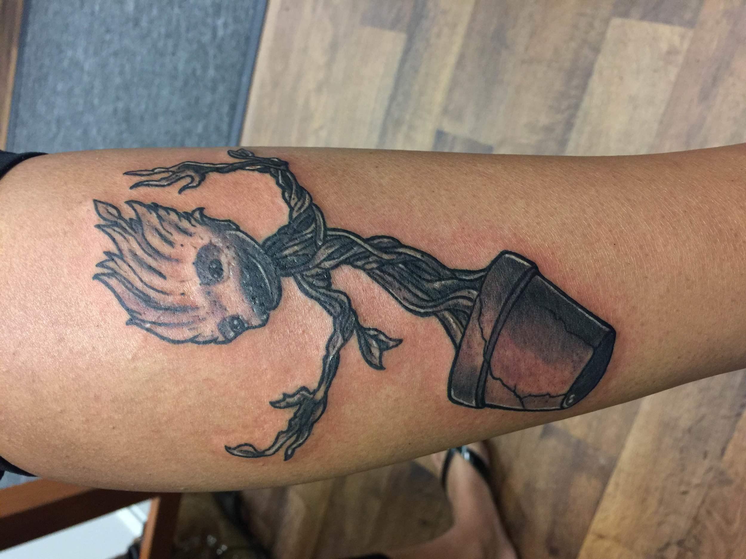 little groot tattoo by Luke Jensen