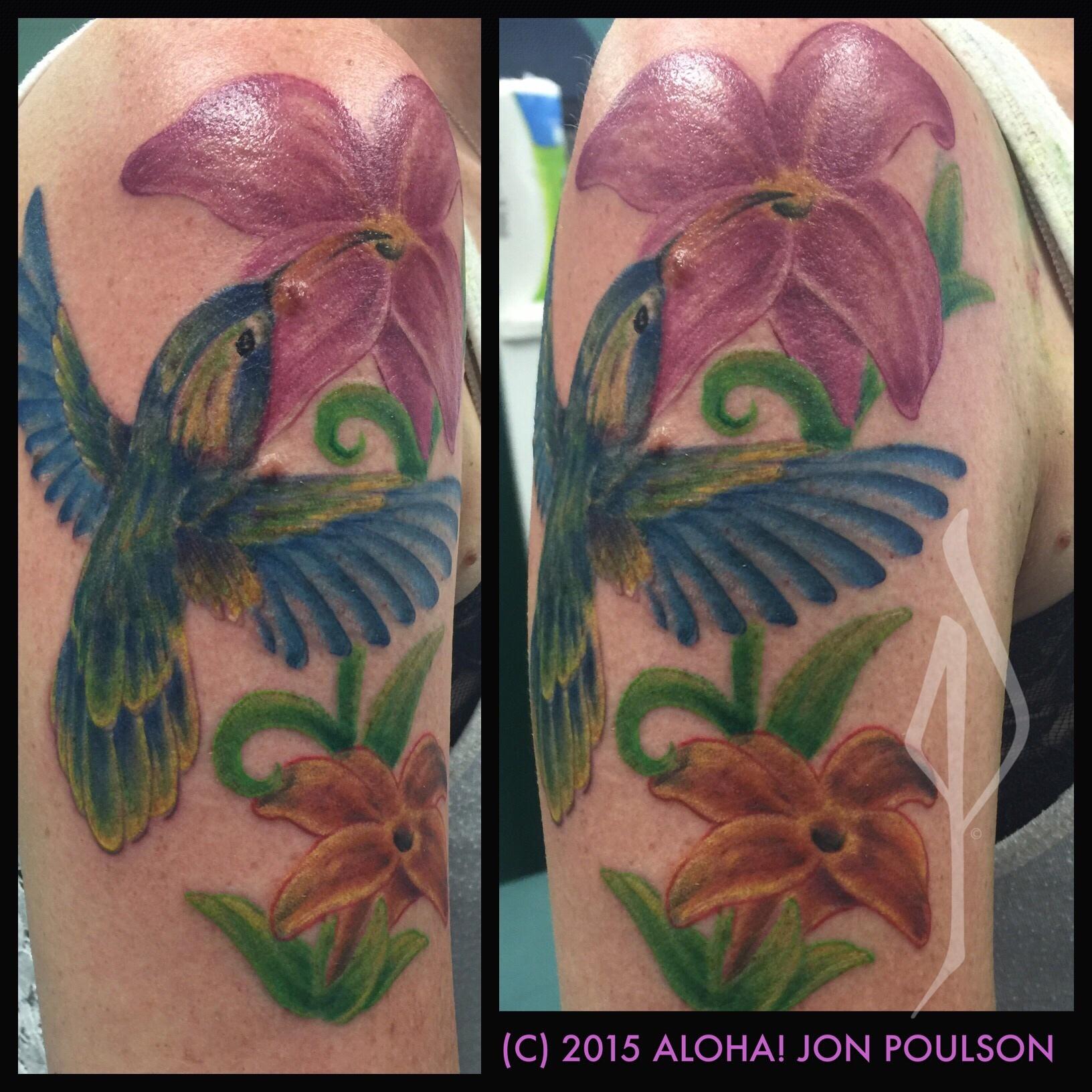 Freehand Watercolor Bird with Flowers Tattoo by Jon Poulson - Aloha Salt Lake Tattoos